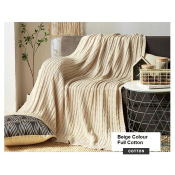 100% Knitted Full Cotton Blanket (Beige) (120cm*180cm)
