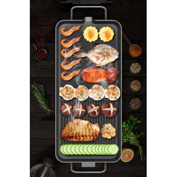 Electric BBQ Grill Pan Non-Stick Body Washable Barbeque Meat Fish Seafood Vegetables