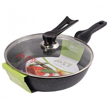 Korea Frying Wok Pan 2 in 1 Function With Deepened and Wider Flat Bottom (28cm) (Green)