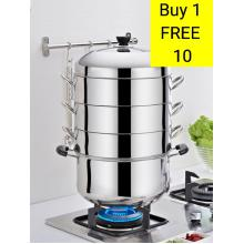 Stainless Steel Food Steamer 4 layers Cooker 30cm FREE 10 Items